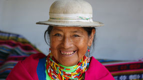 Portrait of an indigenous old woman from the province of Chimborazo Royalty Free Stock Photo