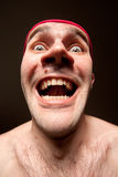 Portrait of insane surprised man Royalty Free Stock Photos