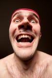 Portrait of insane surprised man. Close-up portrait of insane funny surprised man royalty free stock photos