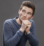 Portrait of inspired male student thinking about future Royalty Free Stock Photo