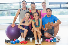 Portrait of an instructor with fitness class Royalty Free Stock Photo