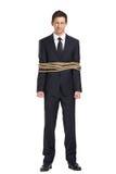 Portrait intégral d'homme d'affaires attaché avec la corde images libres de droits