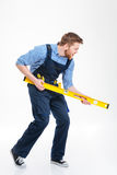 Portrait intégral d'un constructeur masculin drôle Photo libre de droits