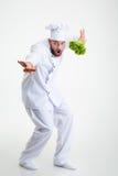 Portrait intégral d'une danse drôle de cuisinier de chef Images stock