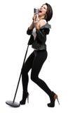 Portrait intégral de chanteur Rock avec le microphone Photos libres de droits