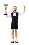 Portrait intégral de petite femme d'affaires avec la tasse Image libre de droits