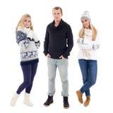 Portrait intégral des jeunes dans des vêtements d'hiver d'isolement Images stock