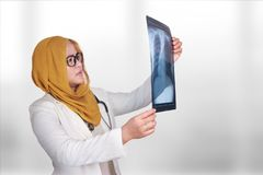 Portrait of intellectual Asian muslim woman healthcare personnel with white labcoat and hijab, examining x-ray radiographic image royalty free stock images