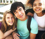 Portrait of international group of students close up smiling, bl. Ond girl, asian boy, young african woman, back to school Royalty Free Stock Image