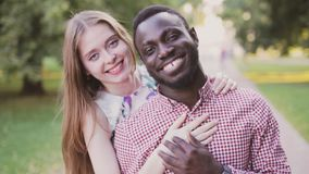 Portrait of a interracial happy couple stock video footage