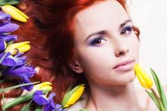 Portrait with iris Stock Photography