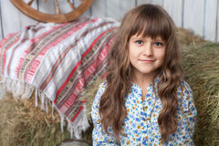 Portrait irl villager in wooden vintage hayloft Stock Image