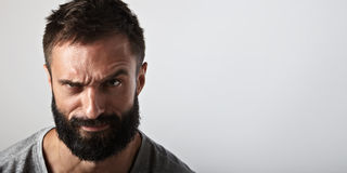 Portrait of an ironic bearded man Stock Photography