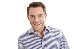 Portrait of isolated attractive happy salesman in shirt on white Royalty Free Stock Photography