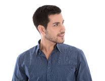 Portrait of an isolated business man wearing blue shirt over whi royalty free stock photography