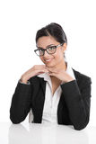 Portrait of isolated intelligent academic with eye-glasses. Isolated intelligent secretary with spectacles on white Stock Photos