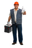 Portrait Isolated manual worker carrying a toolbox Stock Photos