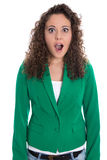 Portrait of an isolated shocked and surprised business woman in Royalty Free Stock Image