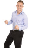 Portrait: Isolated successful young smart businessman cheering a royalty free stock photography