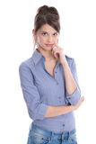 Portrait of isolated young attractive trainee on white backgroun Stock Photography