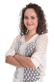 Portrait of a isolated young smiling woman with natural curls. Stock Photos