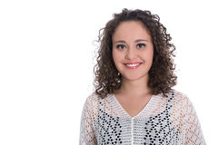 Portrait of a isolated young smiling woman with natural curls. Stock Image