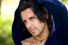 Portrait of italian male model in the summer. Pensive Royalty Free Stock Image