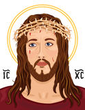 Portrait of Jesus Christ with Christogram stock illustration