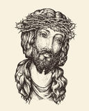 Portrait of Jesus Christ. Hand drawn sketch vector illustration Stock Photos