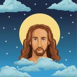 Portrait jesus christ night background Royalty Free Stock Photo