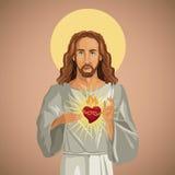 Portrait jesus christ sacred heart Royalty Free Stock Photography