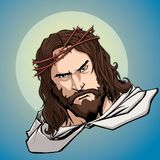 Jesus Portrait Icon. Portrait of Jesus Christ wearing crown of thorns and looking at you with serious expression.rr stock illustration