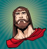 Jesus Superhero Portrait 2. Portrait of Jesus Christ wearing red cape like a superhero, and looking at you with serious expression stock illustration