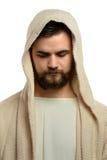 Portrait of Jesus Praying. Praying isolated over white background Royalty Free Stock Photos