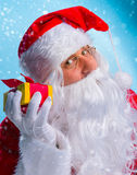 Portrait of a jolly Santa Claus with gifts. Royalty Free Stock Images