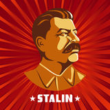 Portrait of Joseph Stalin. Poster stylized Soviet-style. The leader of the USSR. Russian revolutionary symbol.  Royalty Free Stock Photography