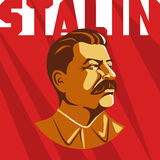 Portrait of Joseph Stalin. Poster stylized Soviet-style. The leader of the USSR. Russian revolutionary symbol.  Royalty Free Stock Images