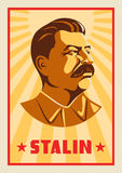 Portrait of Joseph Stalin. Poster stylized Soviet-style. The leader of the USSR. Russian revolutionary symbol Royalty Free Stock Photo