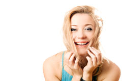 Portrait of a joyful attractive blonde Royalty Free Stock Images