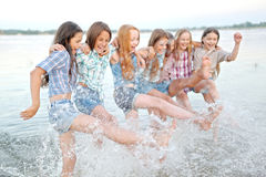 Portrait of joyful beautiful girlfriends Royalty Free Stock Image