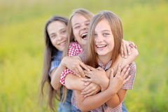 Portrait of joyful beautiful girlfriends Stock Photos