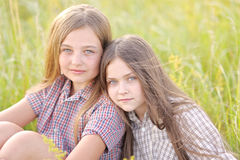 Portrait of joyful beautiful girlfriends Stock Photo