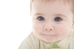 Portrait of joyful blue-eyes baby boy Royalty Free Stock Photography