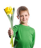 Portrait of joyful boy with flowers Stock Photos
