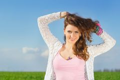 Portrait of joyful charming young woman Stock Photography