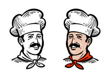 Portrait of joyful chef or baker, logo. Label or icon for design menu restaurant or cafe. Vector illustration Stock Photos