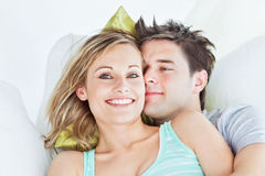 Portrait of a joyful couple Stock Image