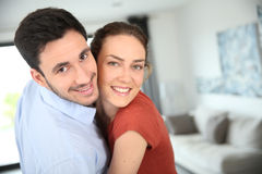 Portrait of joyful couple at home Stock Photography