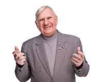 Portrait joyful elderly men royalty free stock photography