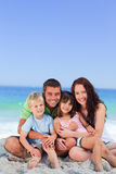 Portrait of a  joyful family at the beach Royalty Free Stock Photos